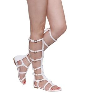 Gladiator Strap Knee High White Faux Leather Open